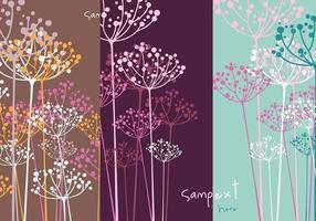 Dill-Blumen-Vektor-Tapeten-Satz vektor