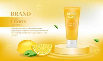 Kosmetikproduktbanner mit Orange vektor
