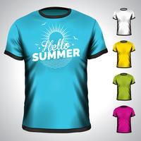 Vektort-shirt eingestellt mit Sommerferienillustration. vektor