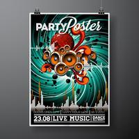 Party Flyer Illustration für ein musikalisches Thema mit Sprechern und Discokugel.