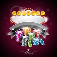 Vector Illustration auf einem Kasinothema mit beleuchtender Anzeige und dem Spielen von Chips