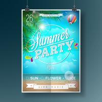 Vector Summer Beach Party Flygdesign med typografiska element
