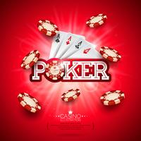 Kasino-Illustration mit Pokerkarte und Spielen der Chips