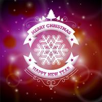 Vektor jul illustration med typografisk design på glänsande bakgrund.