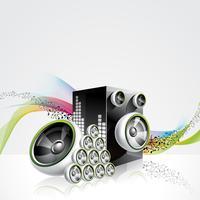 Abstrakt vektor glänsande design med högtalare på vågor bakgrund.