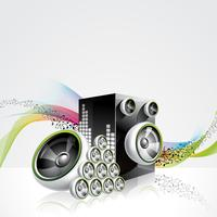 Glänzendes Design des abstrakten Vektors mit Sprechern auf Wellenhintergrund.