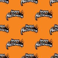Glad Halloween sömlös mönster illustration med kyrkogård på orange bakgrund.