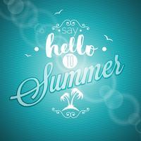 Säg hej till sommar inspiration citationstecken på blå bakgrund.