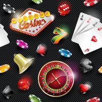 Vector nahtlose Kasinomusterillustration mit spielenden Elementen auf dunklem gestreiftem Hintergrund.