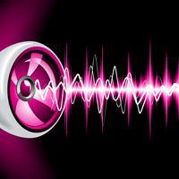 Glänzender Hintergrund des abstrakten Vektors mit Lautsprechern und Schallwellen.