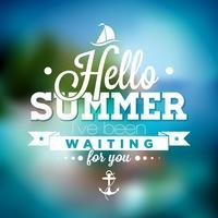 Hej sommar, jag har väntat på dig inspirations citat på suddig havslandskapsbakgrund