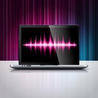 Vektorteknologi stylad illustration med glänsande bärbar dator på färgbakgrund.