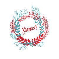 Kranz von Hand gezeichneten Weihnachten