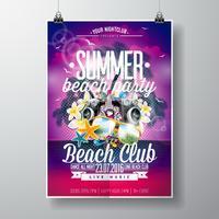 Vector Summer Beach Party Flyer Design med typografiska och musikelement