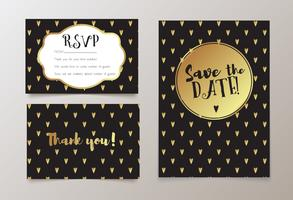 Trendigt kort för bröllop, spara datuminbjudan, RSVP och tackkort.