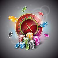 Vector Illustration auf einem Kasinothema mit Rouletterad und dem Spielen von Chips
