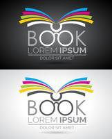 Vektor bok logo illustration. Ikonmall för utbildning eller företag.