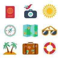 Ikoner av resor, sommar i platt stil vektor