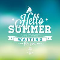 Hej sommar, jag har väntat på dig inspirations citat på oskärpa bakgrund