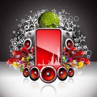 Vektor-Illustration für ein musikalisches Thema mit Lautsprechern und Discokugel