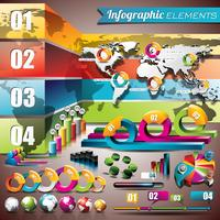 Vektordesignsatz von infographic Elementen. Weltkarte und Informationsgrafiken.