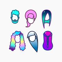 Färgad hår ikonuppsättning. vektor