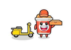 Charakterillustration von Instant-Nudeln als Pizzabote vektor