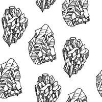 Seamless svartvitt mönster med kristaller vektor
