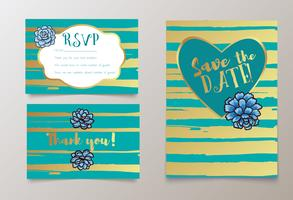 Hochzeiten, speichern Sie die Datumseinladung, RSVP und danke