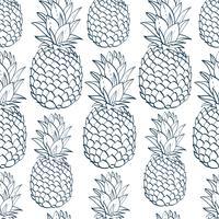 Exotiskt sömlöst mönster med silhuetter tropiska frukter ananas. vektor