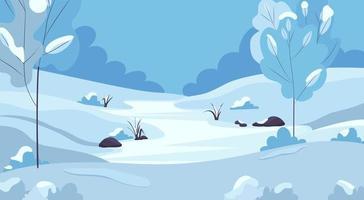 Winterlandschaft mit schneebedeckten Bäumen, Hügeln und zugefrorenem Fluss. vektor