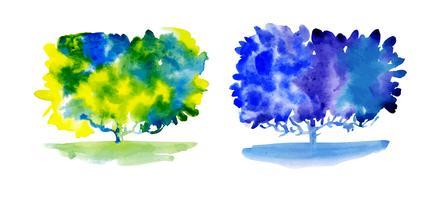 Set av akvarellträd.