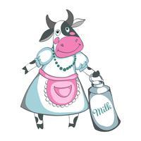 Rolig ko mjölk isolerad på en vit bakgrund vektor