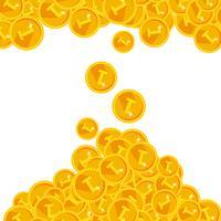 Varm guld festlig lysande pengar dusch bakgrund vektor
