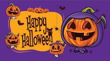 Cartoon süße Kürbisse mit verschiedenen lustigen Gesichtern auf Halloween-Schildern vektor