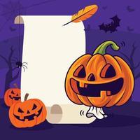 Fröhliches Halloween mit süßem Kürbis auf leerer Vintage-Schriftrolle vektor