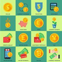 Valutaväxling i banksystemet vektor