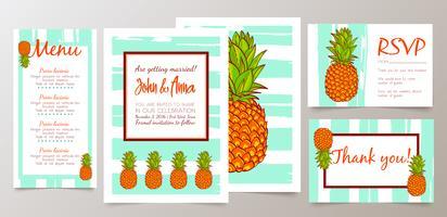 Speichern Sie das Datum und Wedding Einladungskarte mit Retro Ananas