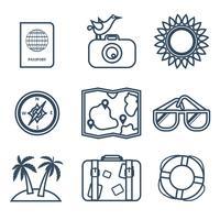 Ikoner av resor, sommar i platt linjestil vektor