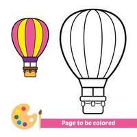 Malbuch, Heißluftballon-Vektorbild vektor