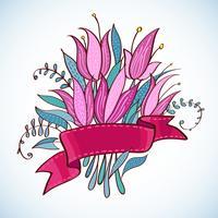 Bröllop Vintage rosa blommor med band vektor