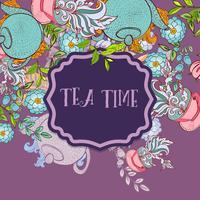 Tid att dricka te. Trendig affisch vektor
