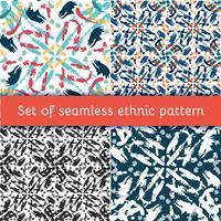 Set Handdragen målad sömlös mönster. vektor