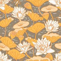 Eleganta Vattenliljor, Nymphaea sömlösa blommönster