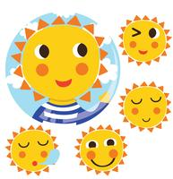 Gullig Sun Clipart Vector Pack