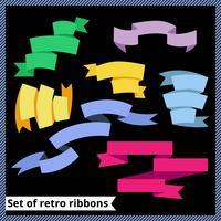 Set von Retro- und flachen Bändern vektor
