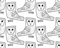 Schleiereule. Ein nahtloses Muster im handgezeichneten