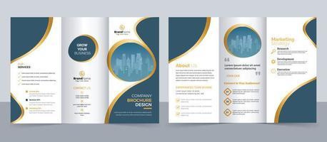 Kreative dreifach gefaltete Broschürenvorlage für moderne Unternehmen, dreifach gefaltetes Layout, horizontale Layoutbroschüre vektor