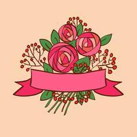 Rosafarbener Blumenstrauß der Weinlese mit Band
