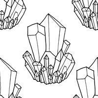 Nahtloses Schwarzweiss-Muster mit Kristallen